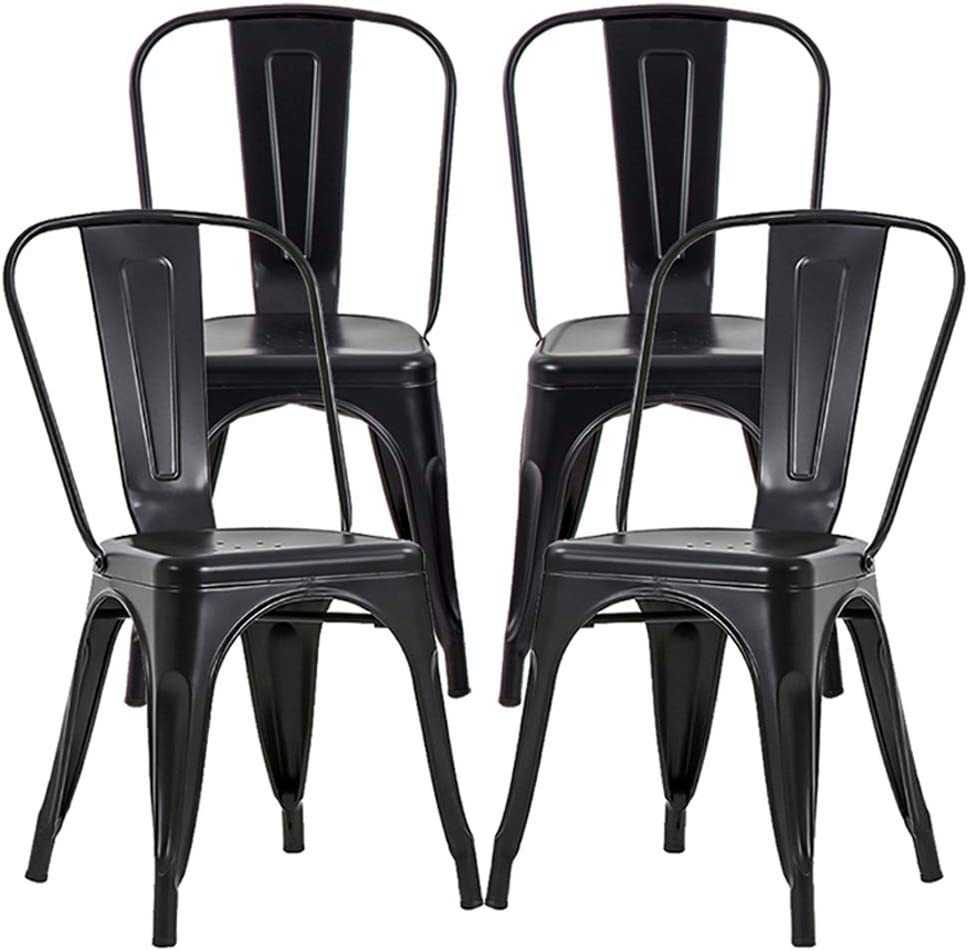 Amazon Com Metal Dining Chairs Set Of 4 Metal Chairs Patio Chair 18 Inches Seat Height Dining Room Kitchen Chair Tolix Restaurant Chairs Bar Stackable Chair Trattoria Metal Indoor Outdoor Chairs Furniture