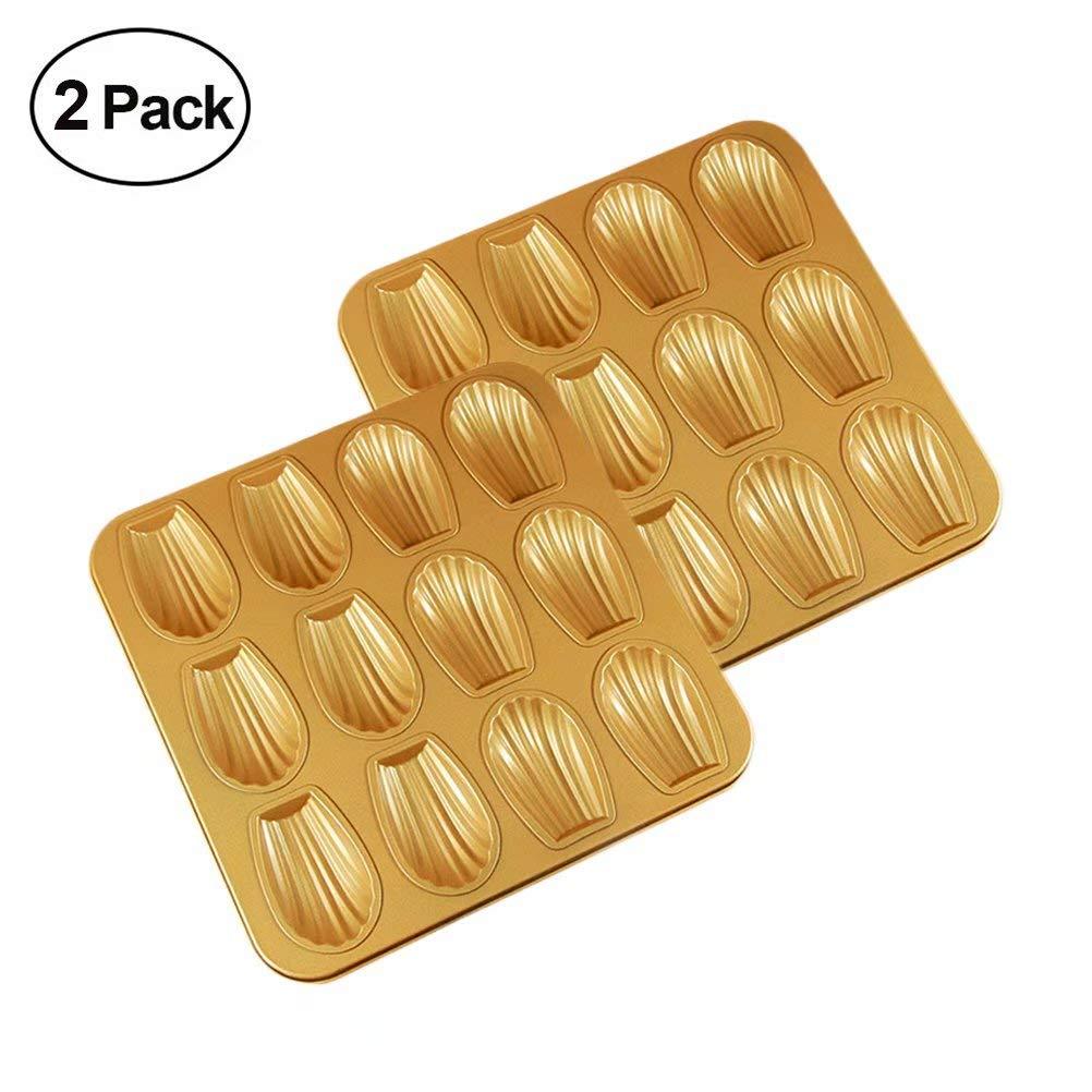 2 Pack Nonstick Madeleine Pan,12-Cavity Shell Shaped Pan ake Pan Baking Molds for Muffin Cookies Donut Kitchen Bakeware