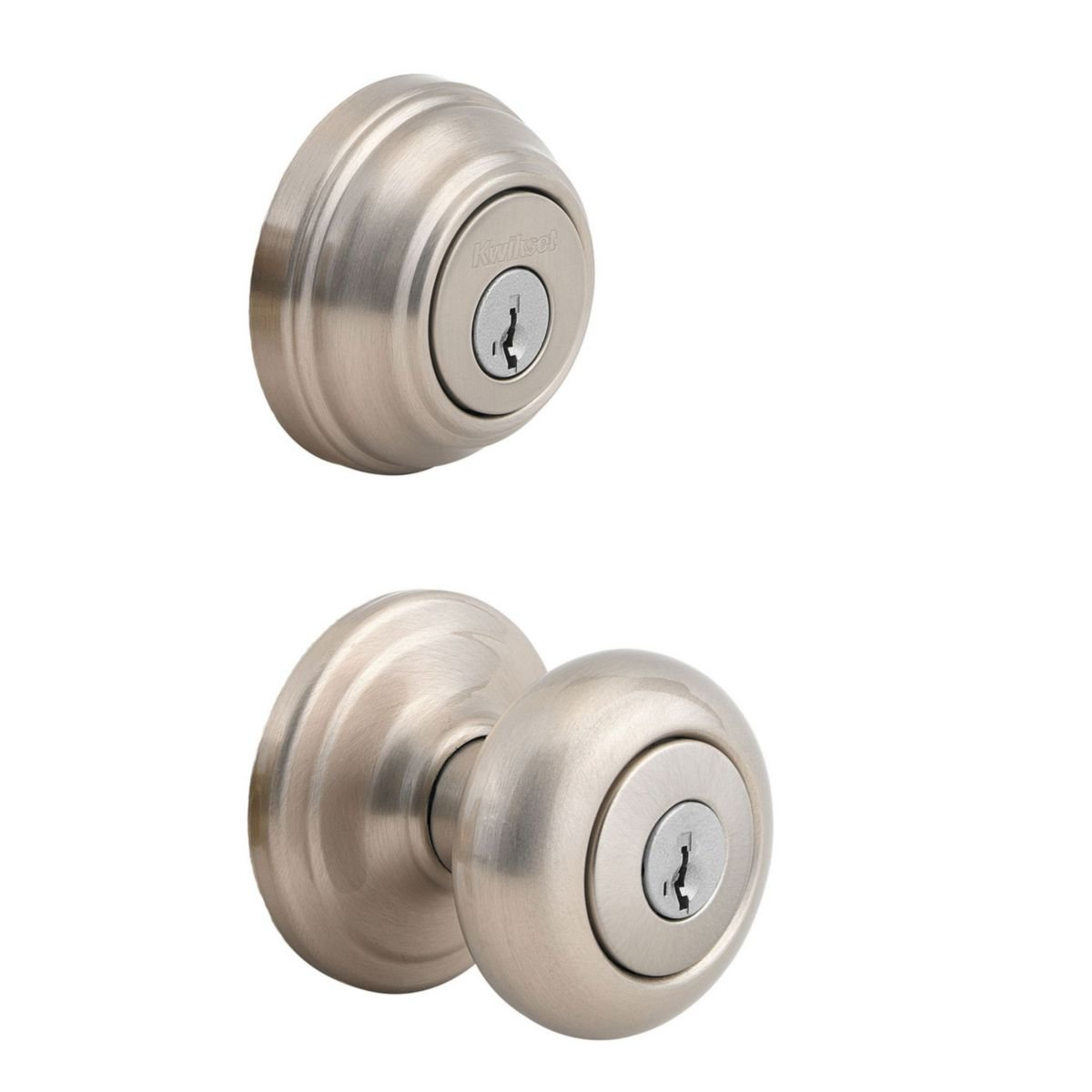 Kwikset 991 Juno Entry Knob and Single Cylinder Deadbolt Combo Pack featuring SmartKey in Satin Nickel by Kwikset (Image #1)