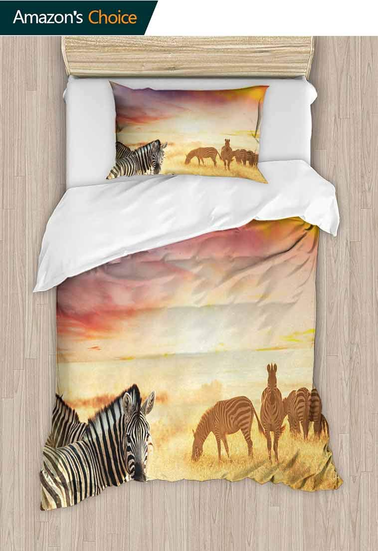 Safari Custom Made Quilt Cover and Pillowcase Set, Zebras at Fairy Sunset on the Grassland Wildlife Adventure Theme in Nature, Bedding Set Cover with 1 Pillow Shams Decorative Quilt Cover Set by carmaxshome