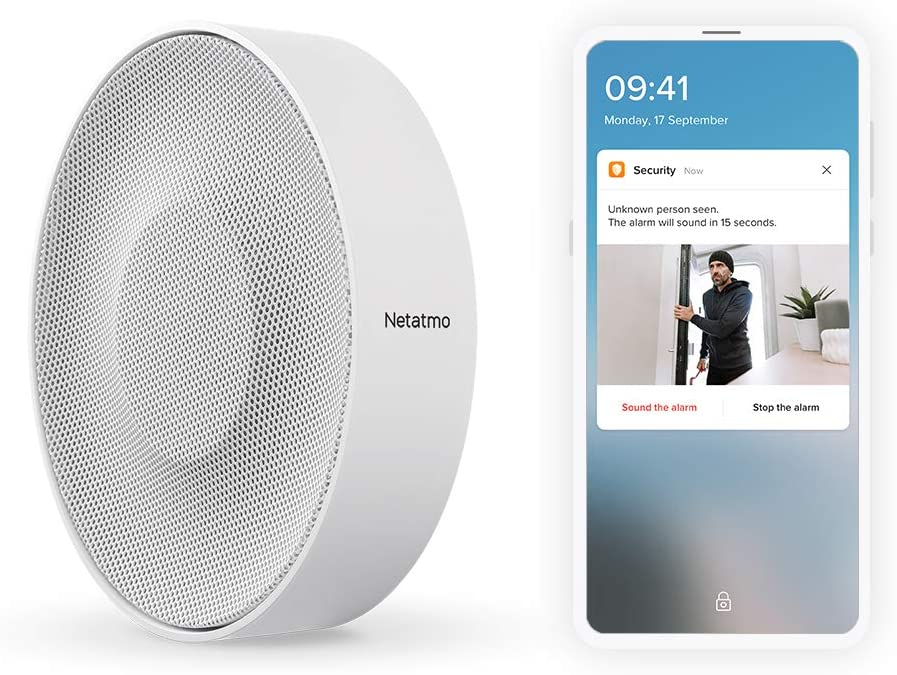 Netatmo Smart Indoor Siren, Wireless, 110dB, Auto Arm & Disarm, No Subscription, Batteries or Wired, NIS01-US