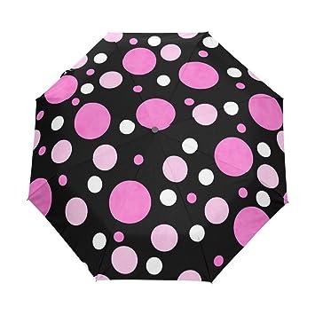 Bennigiry Paraguas Plegable de Cierre automático, Diseño de Lunares, Color Rojo Oscuro, Compacto