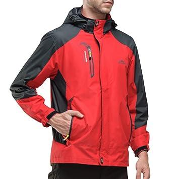 Guiran Hombre/Mujer Al Aire Libre Montaña Impermeable Windbreaker Softshell Chaqueta con Capucha Rojo 2XL