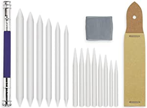 butterfunny 14 PCS Blending Stumps and Tortillions Paper Art Blender Set with 1 Sketch Sandpaper Pencil Sharpener Pointer, 1 Drawing Art Kneaded Eraser and 1 Pencil Extension Tool for Student Artist C
