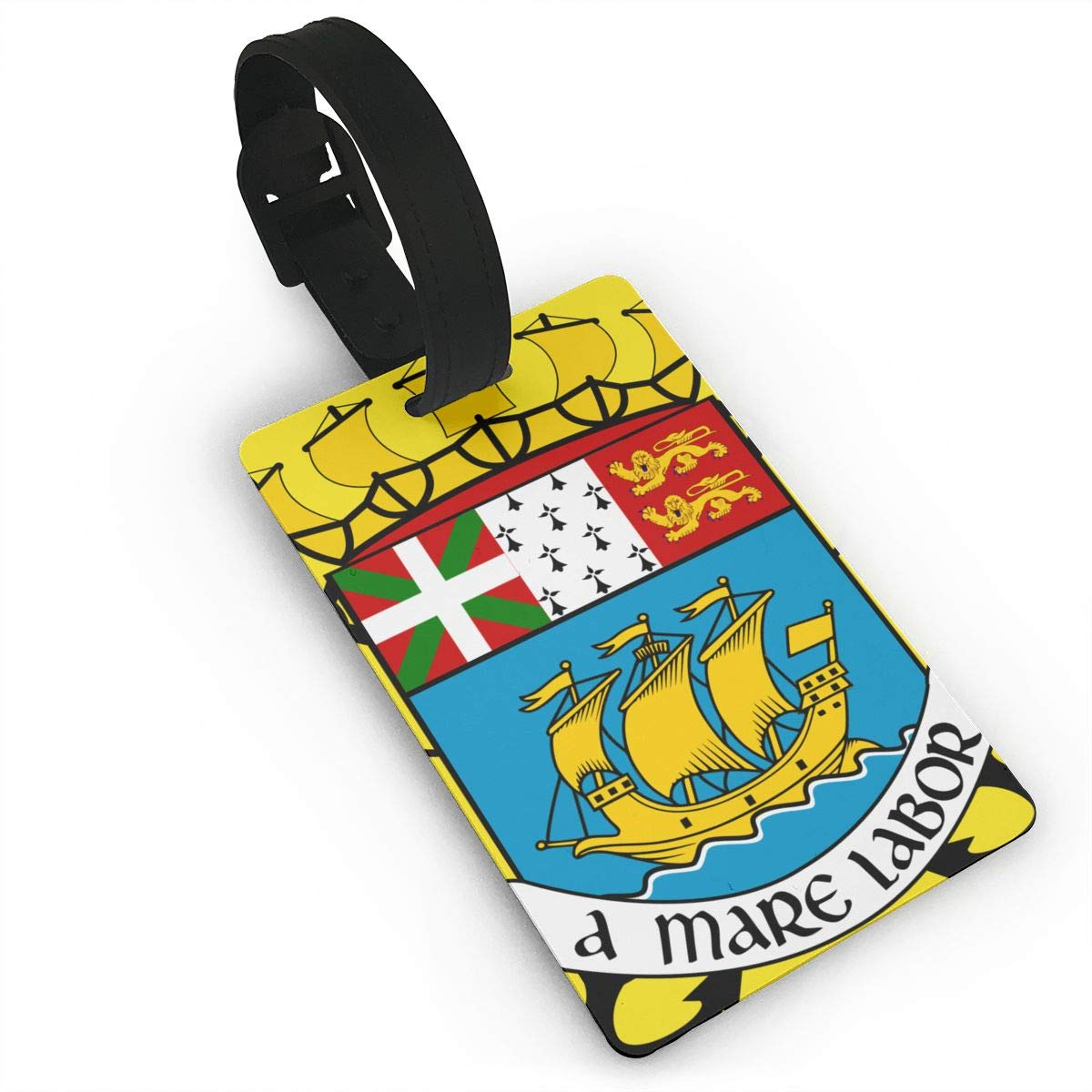 KODW12 Coat of Arms of Saint-Pierre and Miquelon Luggage Tag Travel Bag Labels Suitcase Bag Tag Name Address Cards