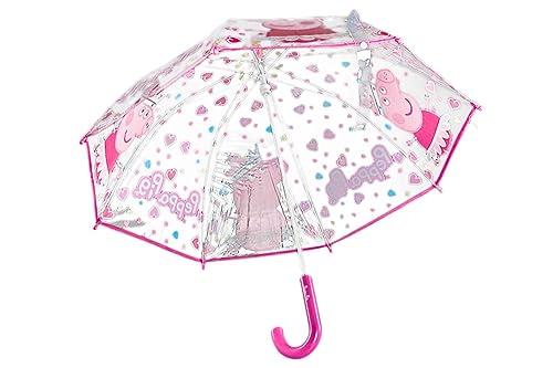 Peppa Pig Paraguas niña largo fantasía rosa PVC trasparente manual Q640