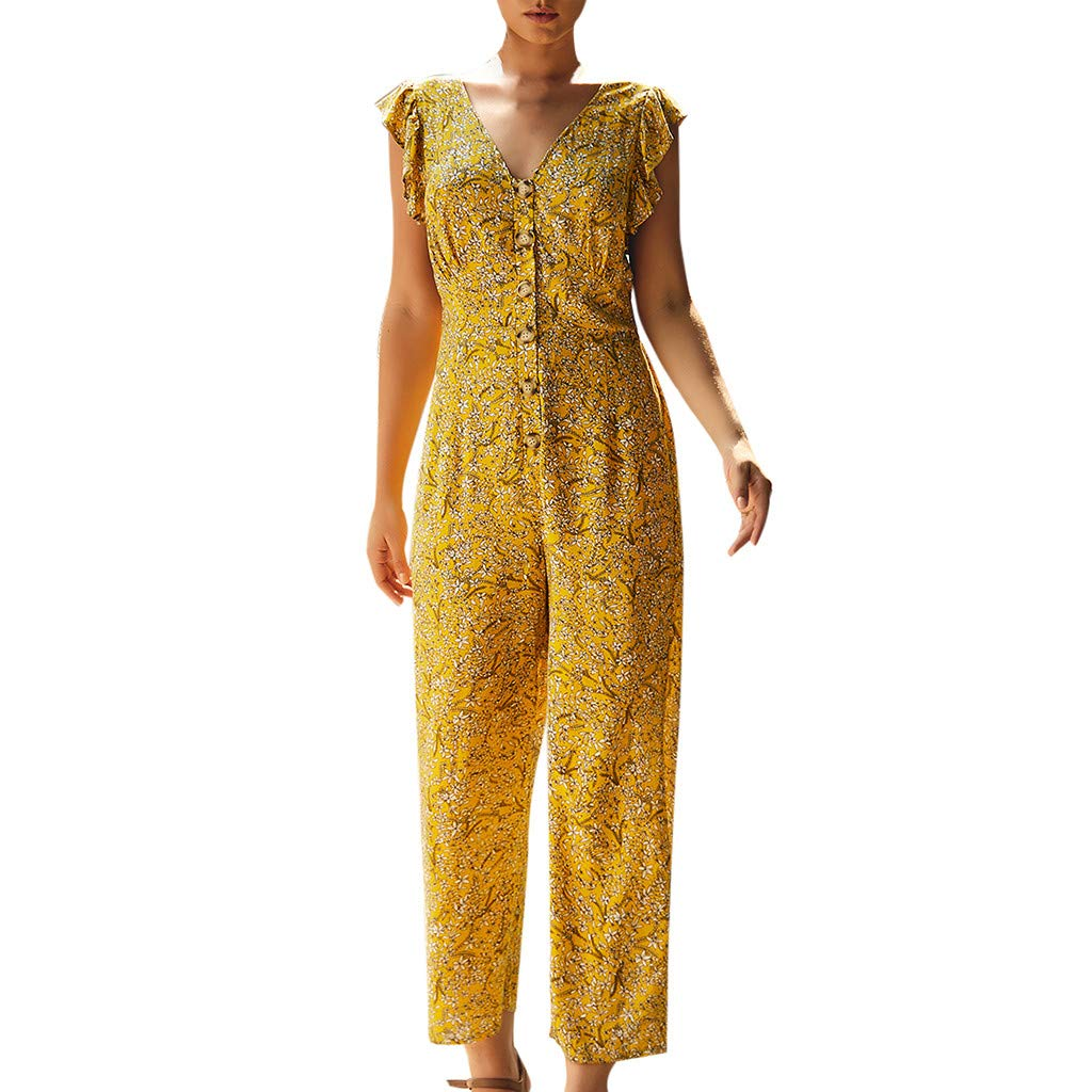 TOTOD Jumpsuits, Women Casual Floral Printed Button V-Neck Sleeveless Long Wide Leg Bodycon Playsuit Yellow