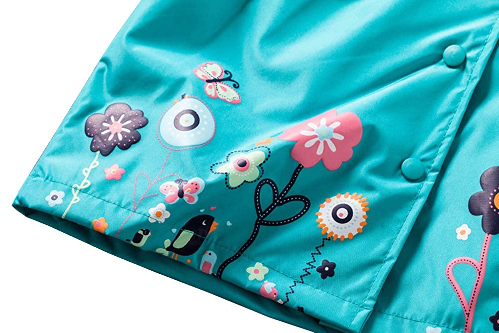 Bestmade Kids Girls Raincoat /& Pants Suit Windproof and Waterproof Rain Coat Hooded Jacket Snowsuits Outwear with Trousers