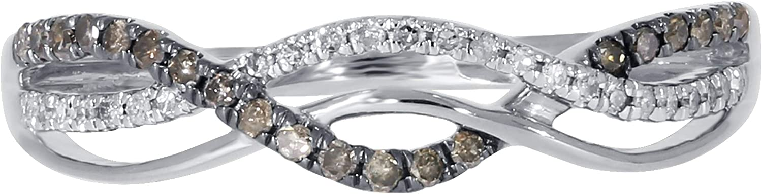 Twisted Half Eternity Anniversary Ring With Round Natural Brown /& White Diamond