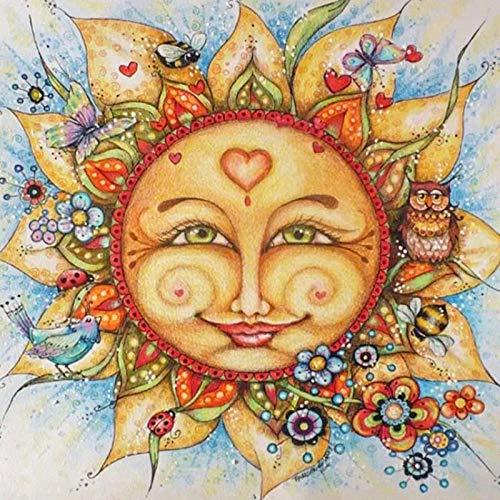 Sun Diamond Girl - Zimal Lovely Sun &Friends 5D DIY Diamond Painting Full Round Or Round Drill Diamond Mosaic Embroidery Art 11.8 x 11.8 Inch