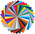 """32 Sheets 12"""" x 12"""" Permanent Adhesive Backed Vinyl Sheets - Premium Quality With Assorted Colors( Neon, Metallic, Glossy and Matt) for Cricut and Other Craft Cutters"""