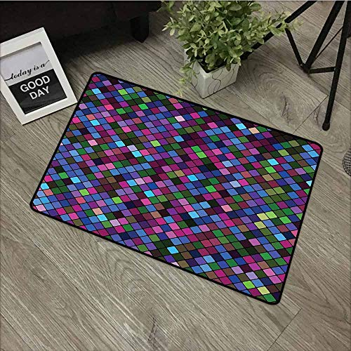 (Rubber Doormat,Checkered Little Squares with Vibrant Colors in Diagonal Order Mosaic of Pixel Pattern,Easy Clean Rugs,20