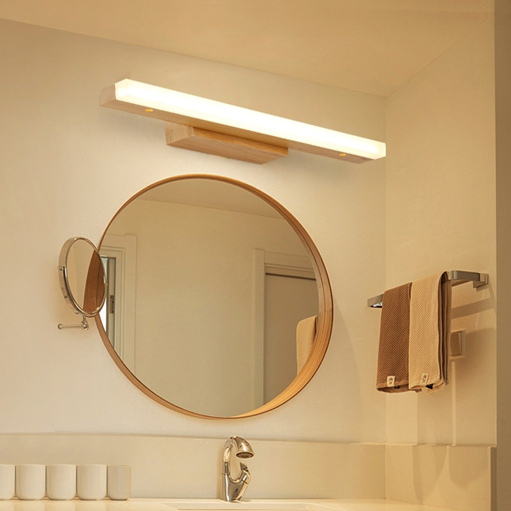 Solid Wood, Mirror Light, LED Wall Washer, Mirror Light Cabinet Light, Bathroom Simple Dresser Wall Light, Warm Light (Size : 60CM 10W) by Mingteng (Image #1)