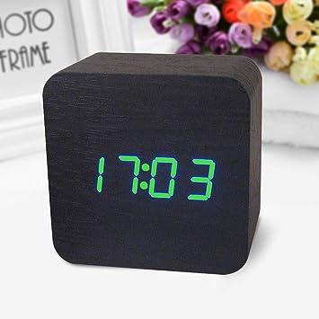 SMAERTHYB Reloj De Escritorio Led De Madera Digital Reloj Despertador Reloj De Escritorio Reloj De Detección Acústica: Amazon.es: Hogar