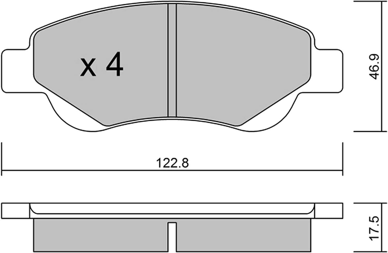 metelligroup 22-0637-0 Plaquettes de Frein Avant et Derri/ère Made in Italy Certifi/és ECE R90 Sans Cuivre Pi/èce de Rechange pour Voiture