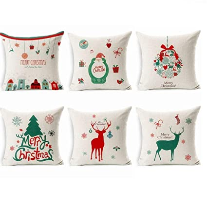 cha long 6packs of christmas pillow covers 18x18 christmas series cushion cover case pillow throw pillow