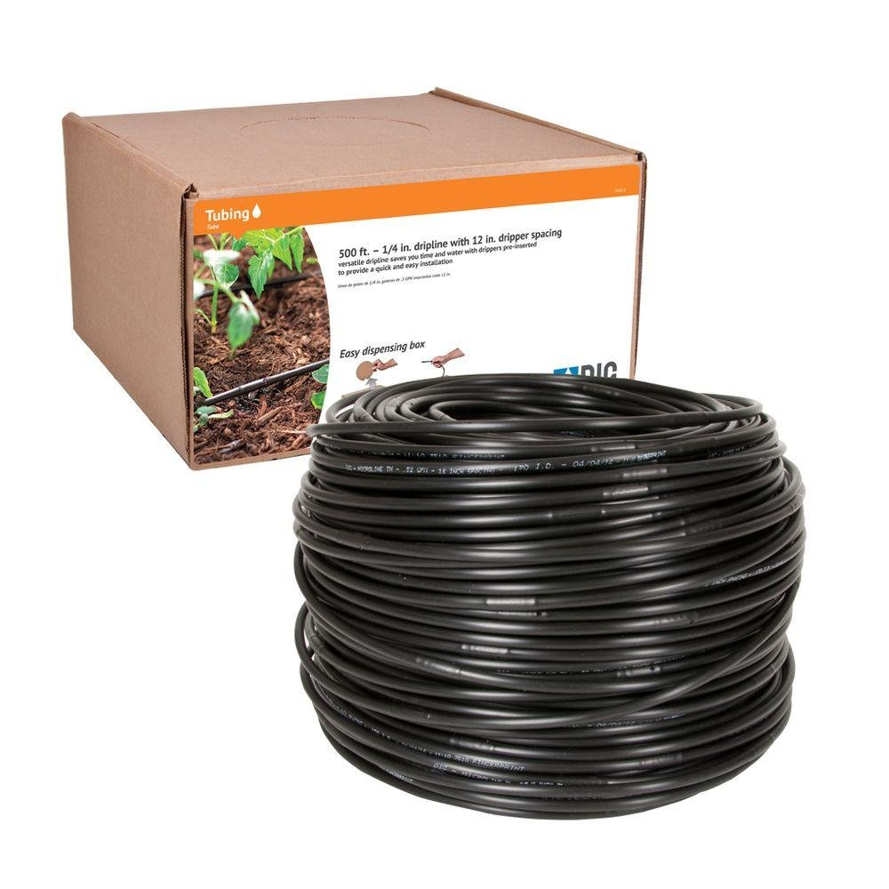 Dig SH512 1/4'' Drip Line .5 GPH Every 12'' Black Self Feed Box, 500'
