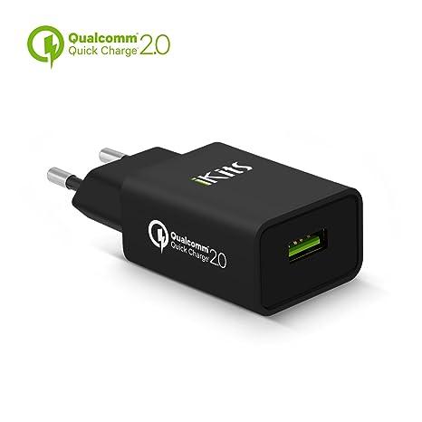 Quick Charge 2.0, iKits Cargador Rápido USB Adaptador de Carga Rápida Enchufe Europeo para Móviles y Tablets con Samsung, Sony, LG, HTC, Moto, Xiaomi, ...