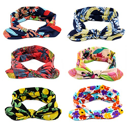 Yeshan Women and Girls Stretch Rabbit Bow Headbands/Bandana/Turban/Headwrap knotted Yoga Hairband,pack of 6