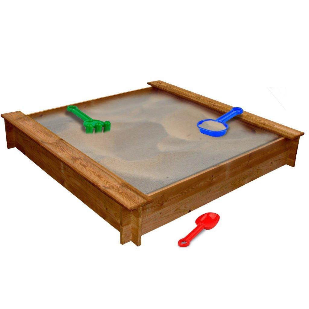 Festnight Square Wood Sand Box Outdoor Sandpits Children Kids Play Box for Garden 120 x 120 x 20 cm (L x W x H)