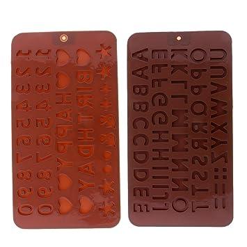 MagiDeal 2pcs Moldes de Silicona Forma Letra Alfabeto Número Molde de Tortas Chocolate Hornear Herramienta: Amazon.es: Hogar
