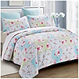 Hedaya Home Fashions Rose Garden Reversible Quilt Set, Beautiful Patchwork Floral Pattern, 3-Piece Set with Quilt and Pillow Shams - Full/Queen, Rose Garden