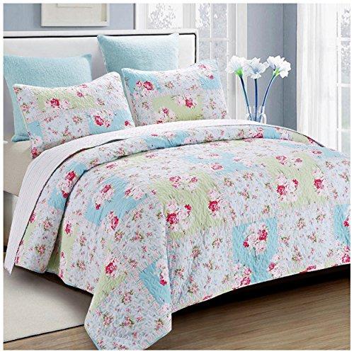 Patch Quilt Garden - Rose Garden Reversible Quilt Set, Beautiful Patchwork Floral Pattern, 3-Piece Set with Quilt and Pillow Shams - Full/Queen, Rose Garden