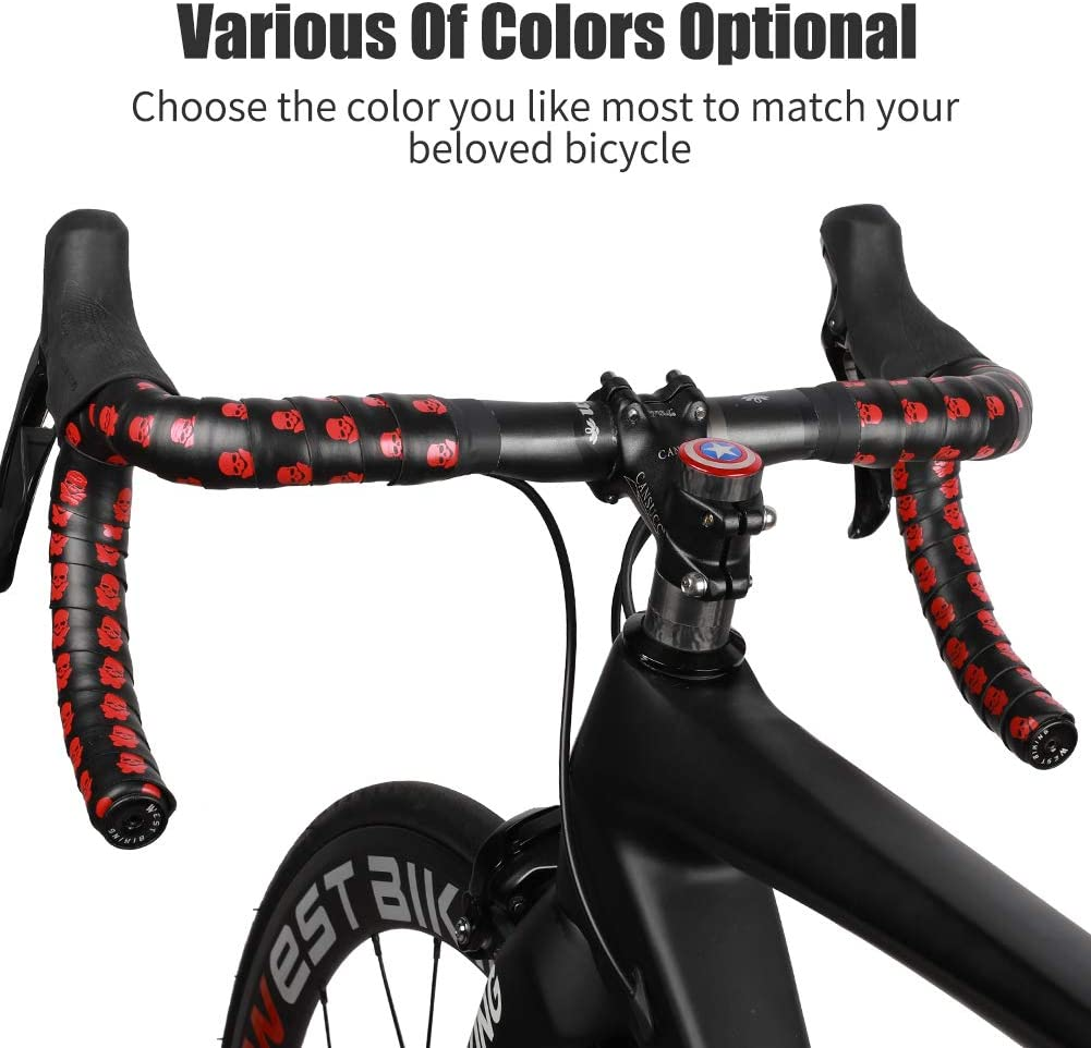 2 PCS EVA Anti-skid Damping Skull Pattern Grip Tape Comfortable Durable Stickable Bike Handle bar Tape for Cycling Bicycle Handlebar Straps MountainBikes Cycle Bar Tape with End Plugs Road Bikes