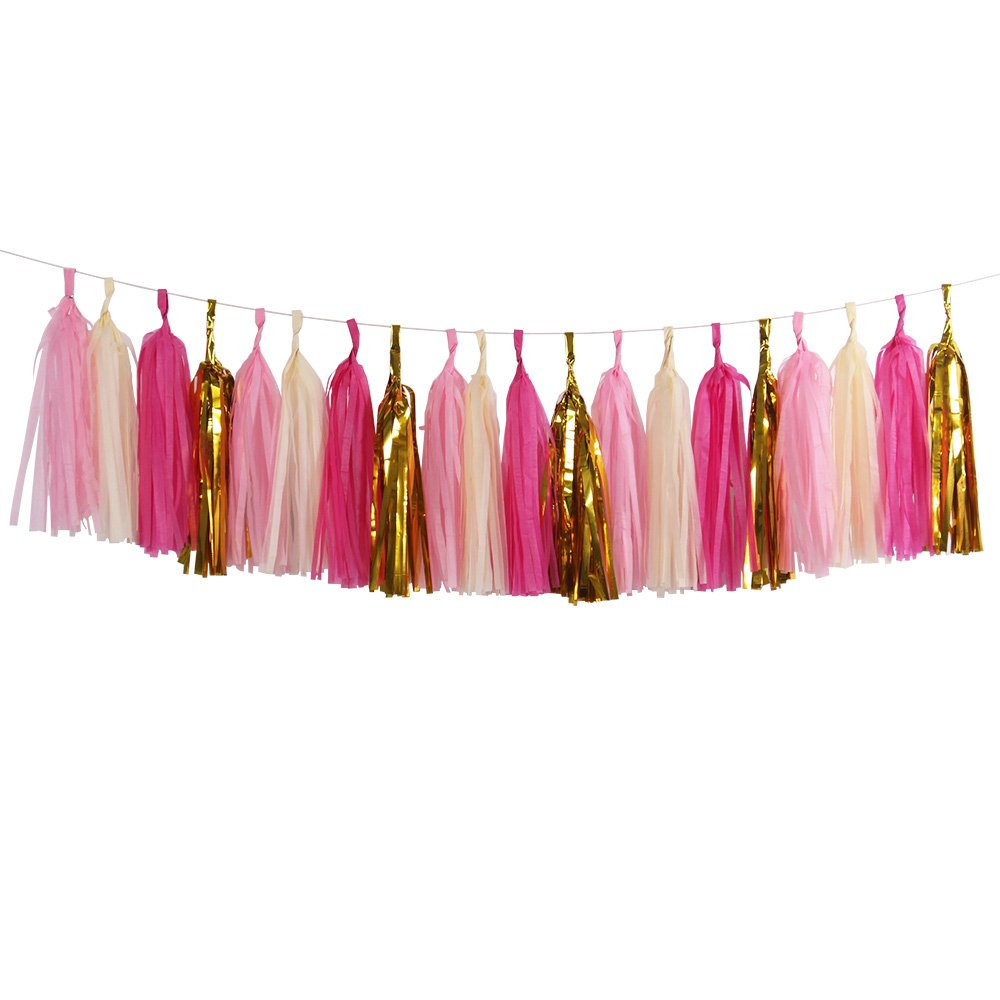 Noex Direct Tissue Paper Tassel Garland 13.5 Inch Long DIY Party Tassel for Birthday Bridal Shower Table Decor - Pack of 20