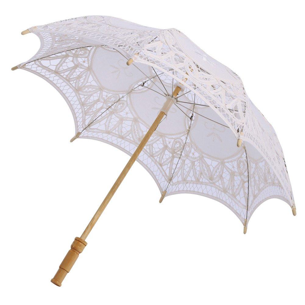 Bateer Girls Handmade Lace Cotton Umbrellas for Sun Parasol Bridal Accessory