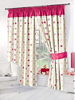 Dreamscene Stars Supersoft Childrens Kids Thermal Pink Blackout Curtains 53 Wide X 72