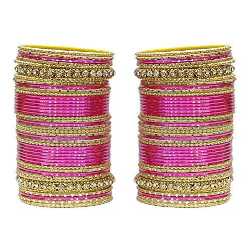 MUCH-MORE 86 Bangles Set of Multi Colour Amazing Collection of Bangles Set for Womens (H-Pink, 2.4)