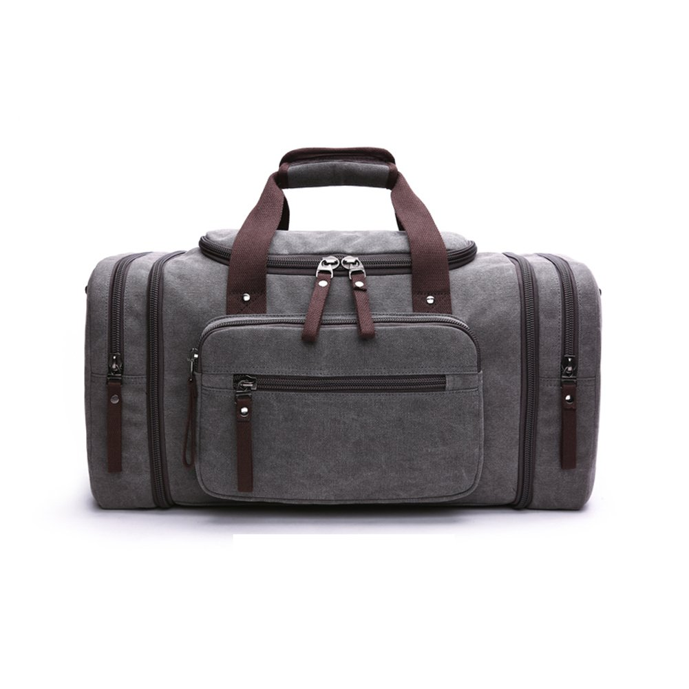 Canvas Duffle Bag Luggage Tote Bag Crossbody Bag Expandable Trip Bag Weekend Travel Bag (Gray)