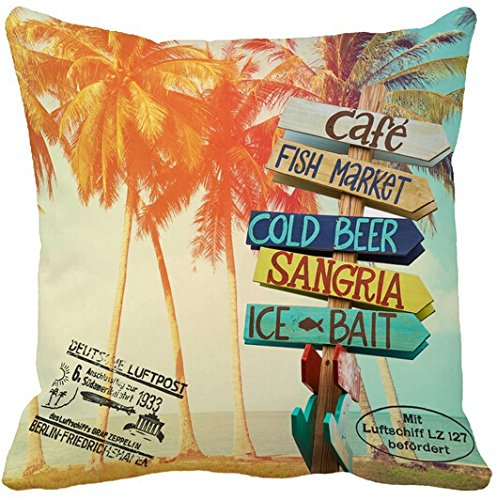 CCTUSGSH Hot Sale Summer Style Palm Trees At Tropical Postcard Print Cotton Throw Pillow Case Cushion Cover 18 X 18 Inches One Side
