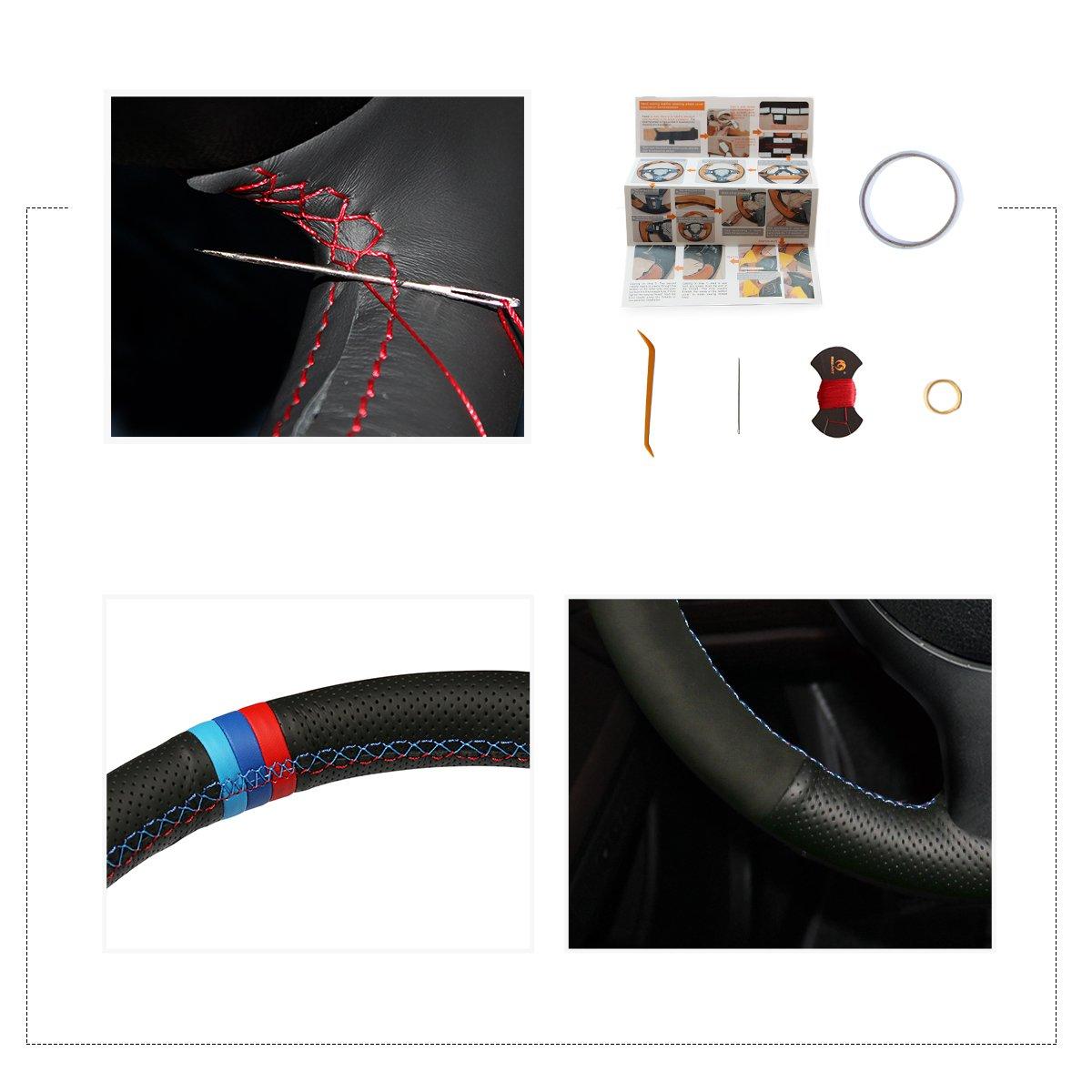 MEWANT Customized Hand Sewing Black Suede Car Steering Wheel Cover for E46 E39 330i 540i 525i 530i 330Ci M3 2001-2003