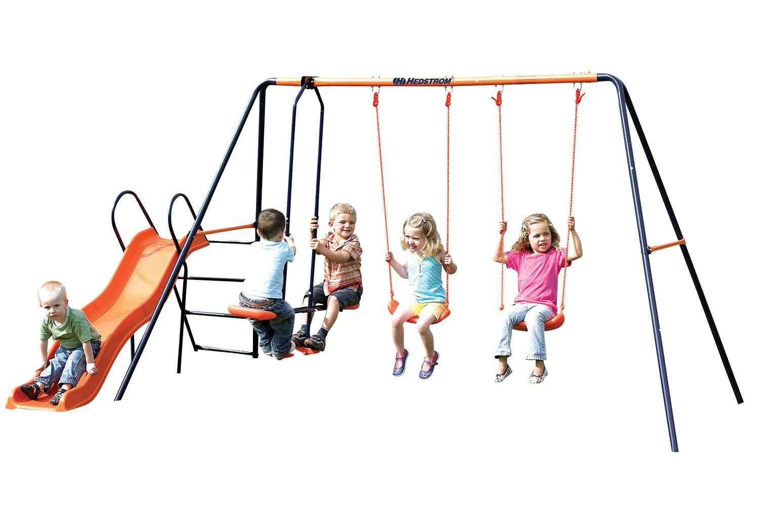 Childrens Hedstrom Double Swing Glider & Wavy Chute Slide Outdoor Multiplay Set MV Sports + Leisure