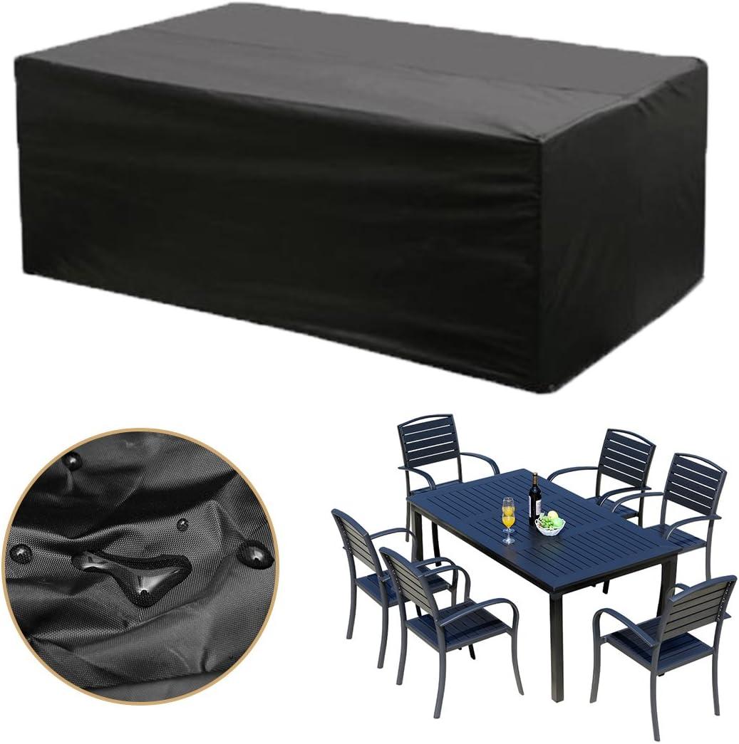dDanke housse de protection pour meubles de jardin, 6 chaises, 180 x 120 x 74 cm pour tables de jardin carrée: Amazon.es: Jardín