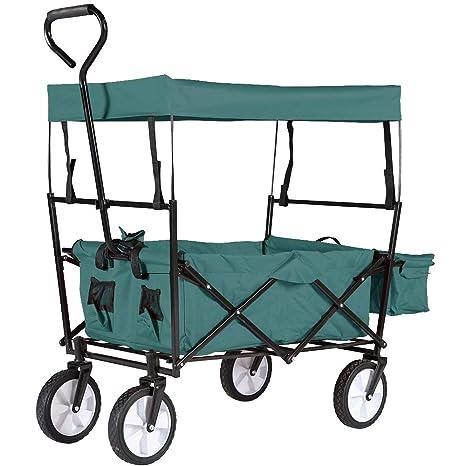 HENGMEI Carretillas de Carro Plegable Carrito transportador con Toldo de Protección carga para Playa, jardín