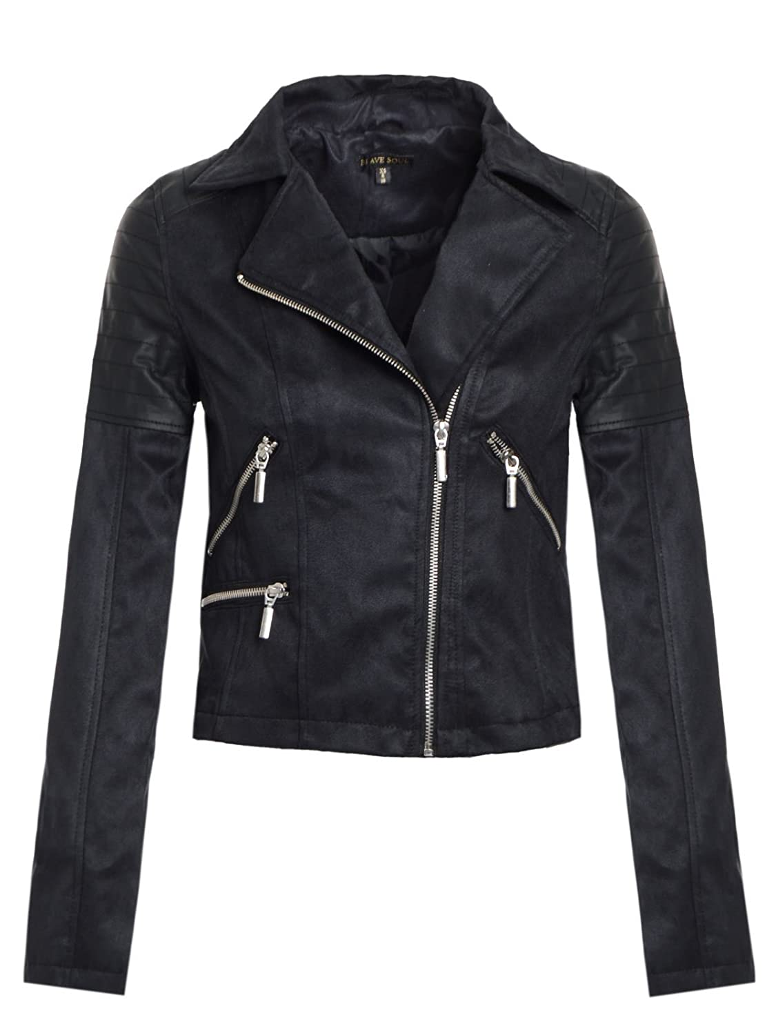 51ab564ebff3 BRAVE SOUL WOMENS PU PVC LADIES FAUX SUEDE ZIP DETAIL BIKER JACKET BLACK  12  Amazon.co.uk  Clothing