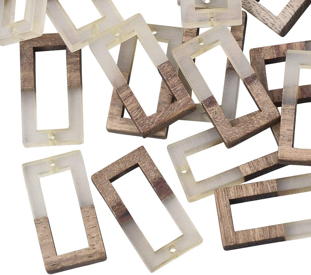 OLYCRAFT 10pcs Resin Wooden Earring Pendants Ring Vintage Resin Wood Statement Jewelry Findings for Necklace and Earring Making Clear