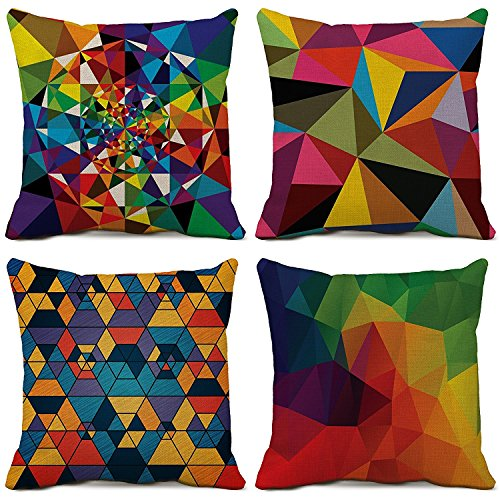 SPXUBZ Cotton3D Triangle Color Lump Split Joint Pillow Cover Decorative Home Decor Great Gift Square Indoor/Outdoor Pillowcase Size: 18x18 Inch(Two Sides) Set of ()