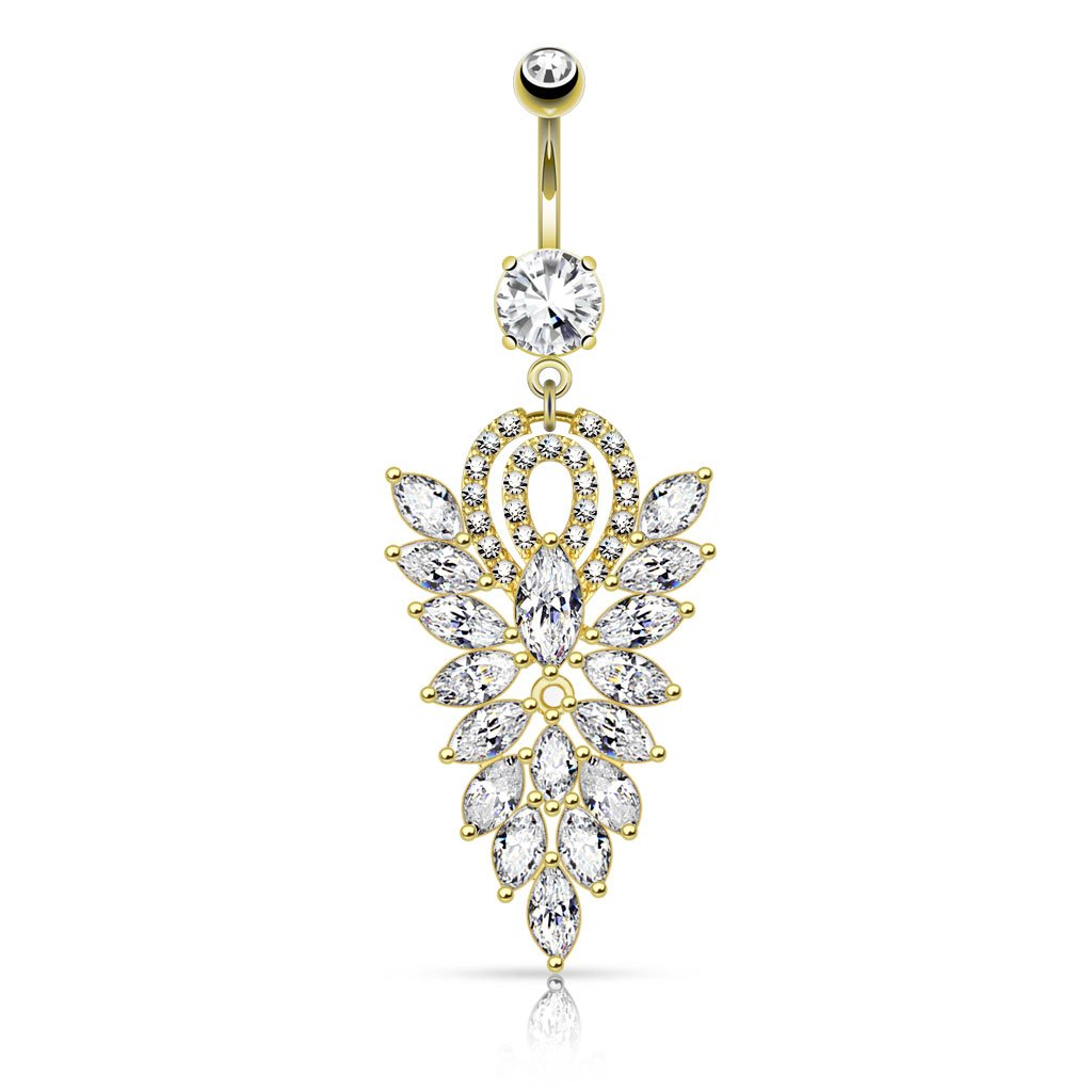 West Coast Jewelry Fancy Chandelier CZ Cluster Dangle Navel Ring Sold Individually