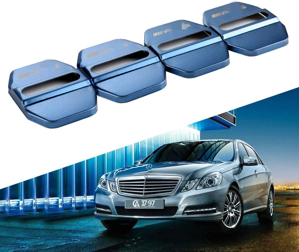 Wonderfulhz Stainless Steel Car Door Lock Latches Cover Protector Compatible with 2019 2020 Mercedes Benz C E S GLA GLC GLE CLS 4Packs//Set Mercedes Silver