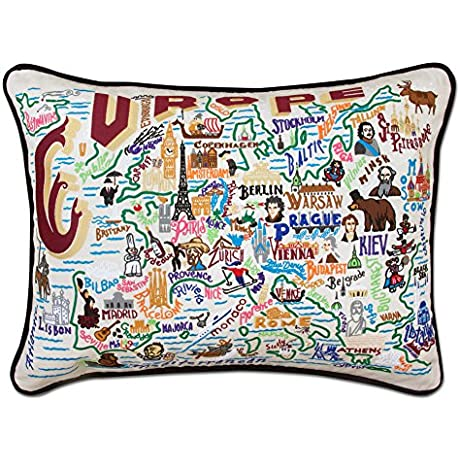 EUROPE EMBROIDERED PILLOW CATSTUDIO