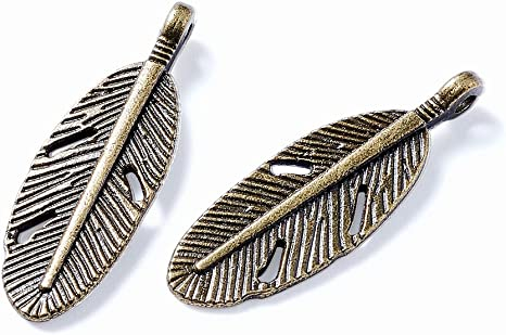 4 colors: bronze silver size 3.5 cm long copper gold Feathers charms for Jewelry Making vintage metal colors 4 pieces  set