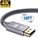 DisplayPort Cable,Capshi 4K DP Cable Nylon Braided -(4K@60Hz, 1440p@144Hz) Ultra High Speed DisplayPort to DisplayPort Cable 10ft for Laptop PC TV etc- Gaming Monitor Cable (Grey)