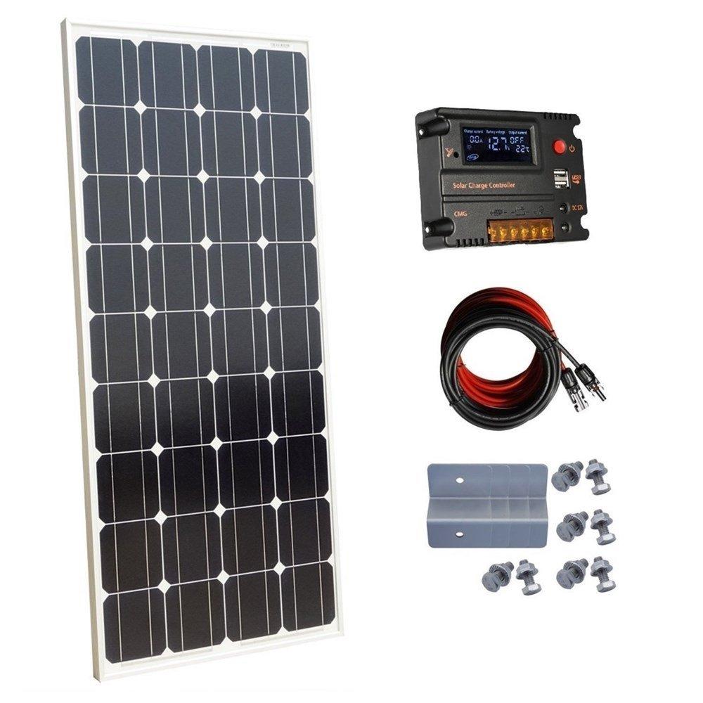 Ecoworthy monocristallino 100 W 12 V pannelli solari kit + 20 A regolatore di carica per off-grid 12 Volt Batteria sistema