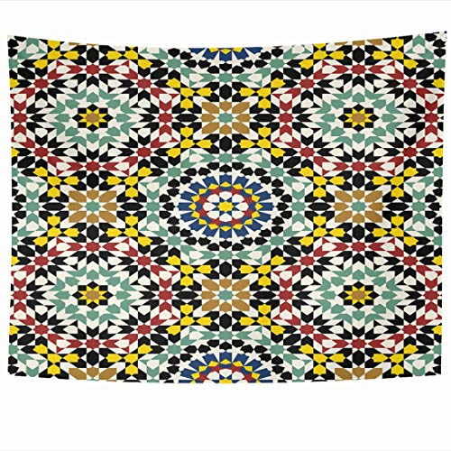Ahawoso Tapestry 80x60 Inch Retro Moroccan Morocco Pattern Arabic Mosaic Abstract Alhambra Antique Arab Turkish Wall Hanging Home Decor for Living Room Bedroom Dorm ()