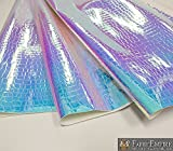Fabric Empire Vinyl Upholstery Embossed Crocodile Holographic Glossy Fabric Light Blue 54' Wide Sold by The Yard