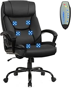 Giantex Executive Office Chair, Big and Tall Massage Chair w/ 6 Vibrating Points, 500lbs Capacity, Soft Sponge, Height-Adjustable High Back Office Chair with Comfortable Headrest, Padded Armrest